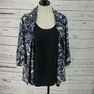 White Stag Blue & Black paisley Layered Look Top